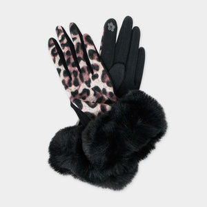 Animal Print Smart Gloves Fatty Fur